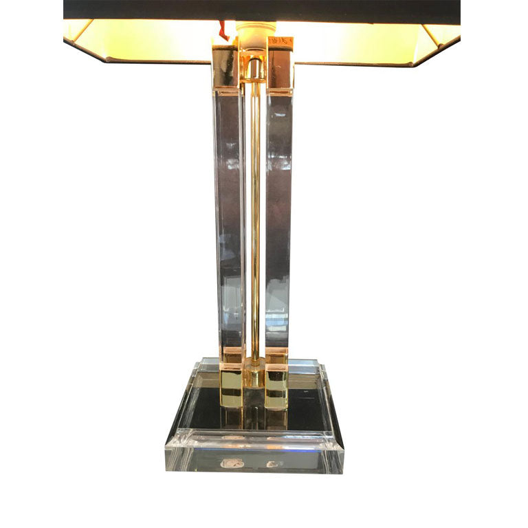 PAIR OF ITALIAN LUCITE AND GILT METAL LAMPS