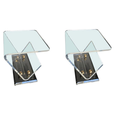 PAIR OF LUCITE AND BRASS SIDE TABLES WITH MAGAZINE RACKS
