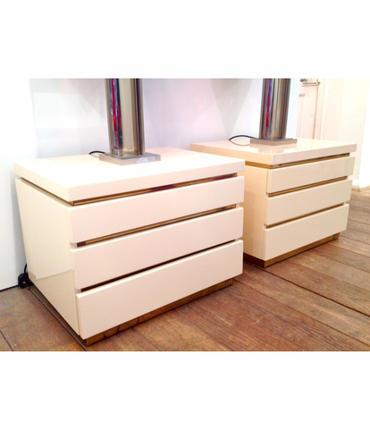 PAIR OF MAHEY SIDE TABLES