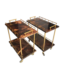 PAIR OF SMALL ALDO TURA BAR TROLLIES