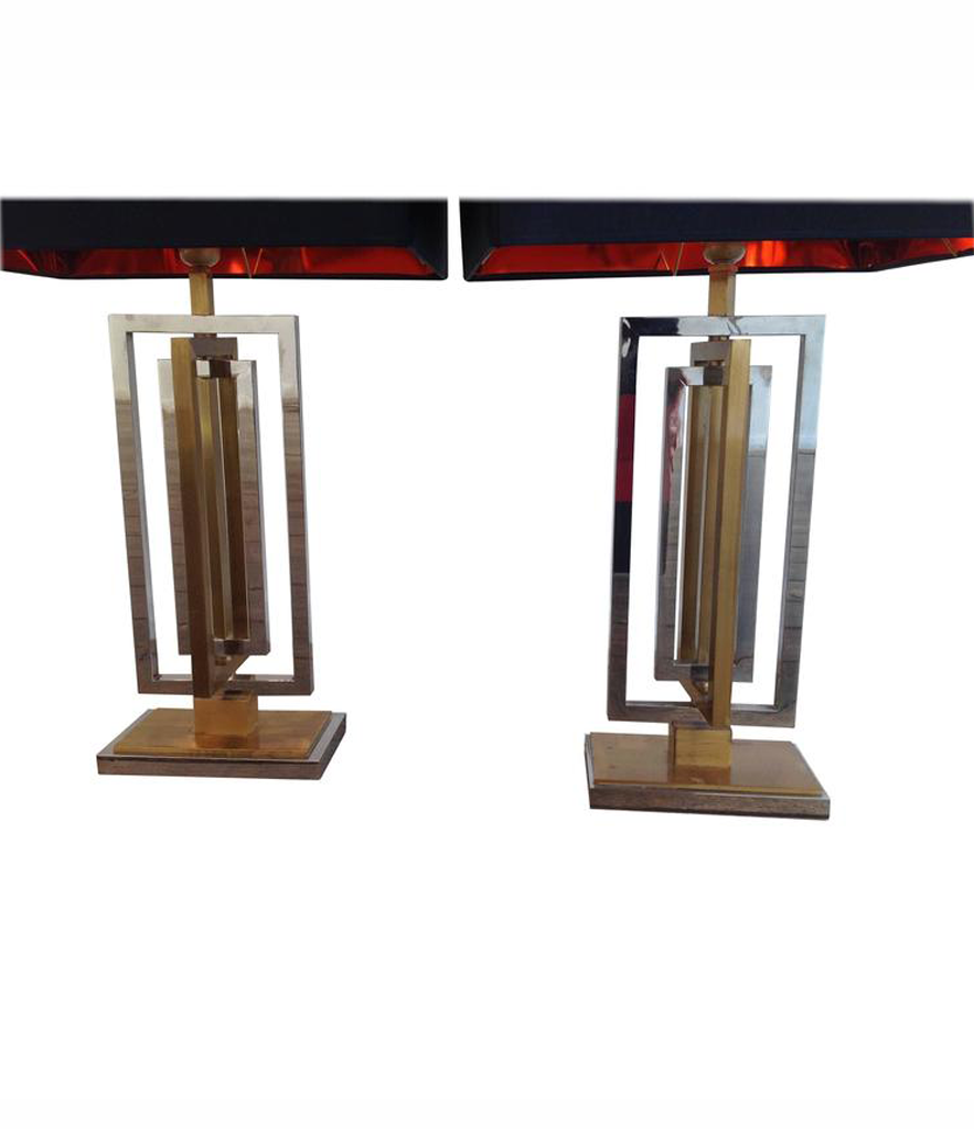 1970s PAIR OF WILLY RIZZO REVOLVING LAMPS