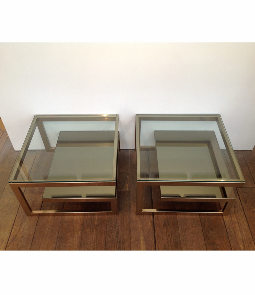 Pair of Belgo chrome  G side tables