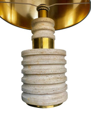 PAIR OF LARGE TRAVERTINE AND BRASS ITALIAN LAMPS