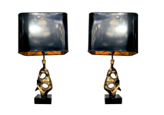 PAIR OF BRONZE ABSTRACT, SCULPTURAL LAMPS BY MICHEL JAUBERT