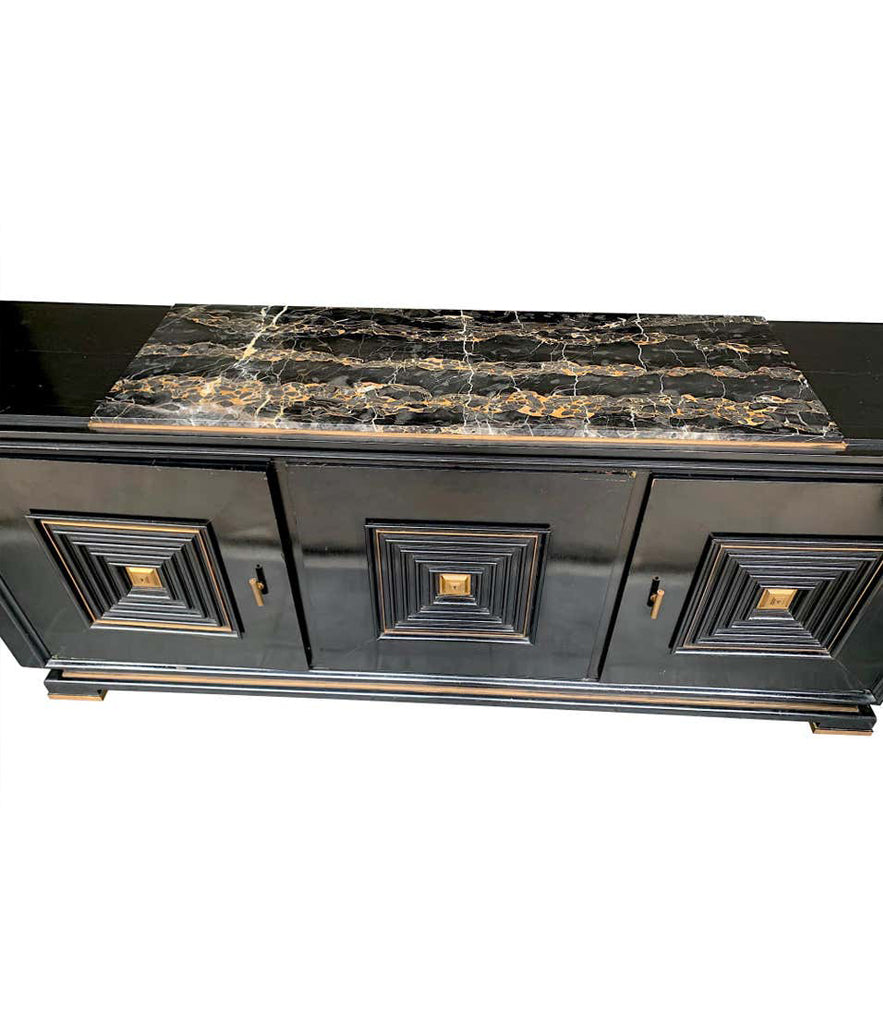 QUALITY ART DECO EBONIZED THREE-DOOR SIDEBOARD WITH NERO PORTORO MARBLE TOP