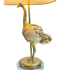 "RARE GABRIELLA CRESPI GILT METAL ""STRUZZO"" LAMP WITH REAL OSTRICH EGG CENTRE"