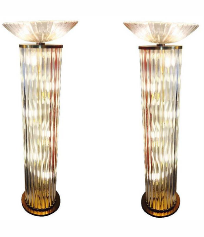 RARE PAIR OF VENINI GLASS ROD FLOOR LIGHTS