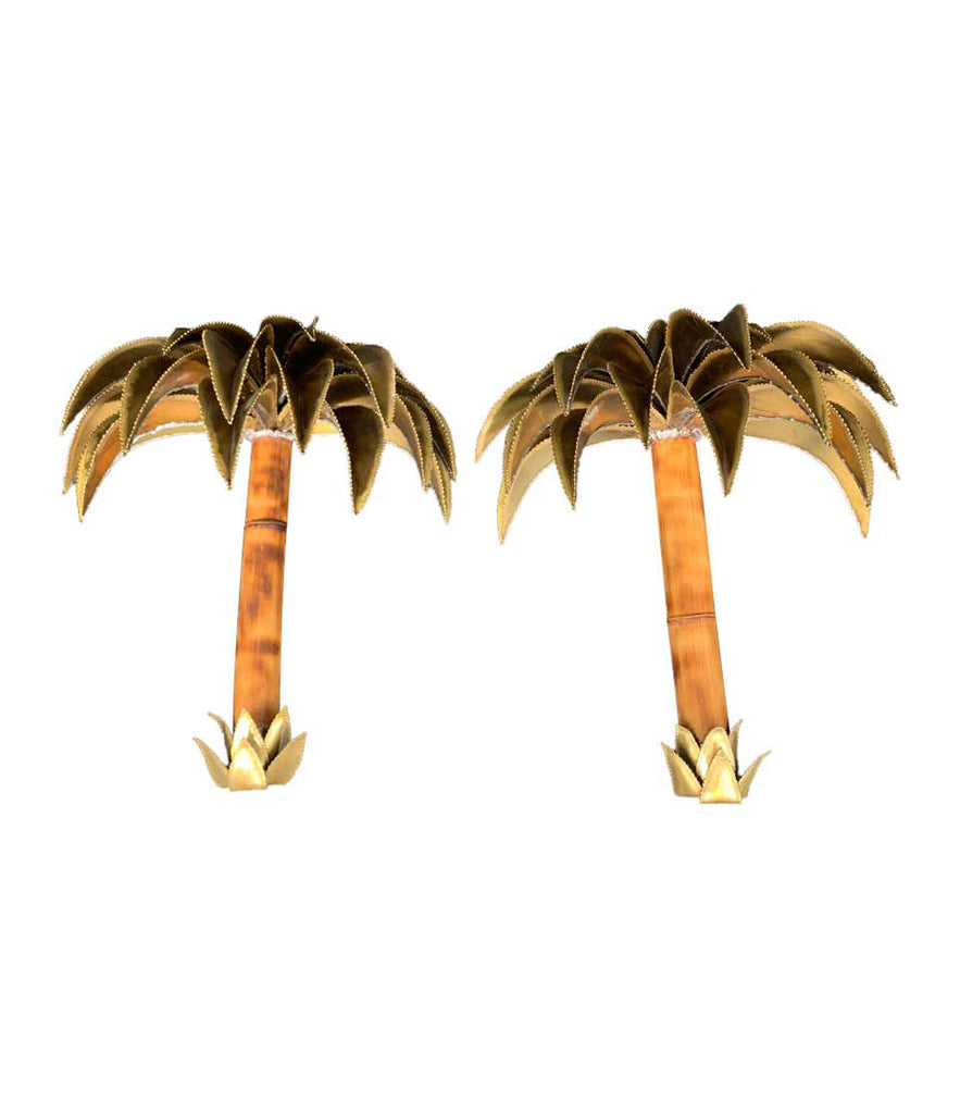 RARE PAIR OF 1960S MAISON JANSEN PALM TREE WALL SCONCES WITH REAL BAMBOO STEMS
