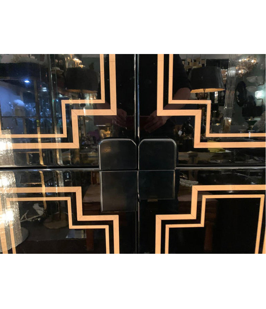 RARE 1970S BLACK LACQUER AND INLAY BAR CABINET BY PACO RABANNE