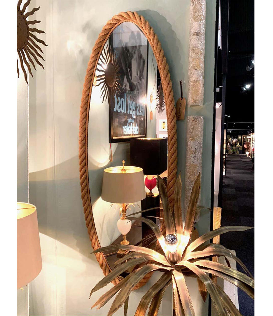 RARE PAIR OF LARGE 1950S FRENCH RIVIERA OVAL ROPE MIRRORS BY AUDOUX AND MINET