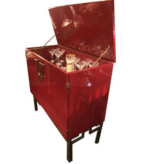 RED LACQUERED, 1970S BAR CABINET WITH BRASS CHINOISERIE DETAILING