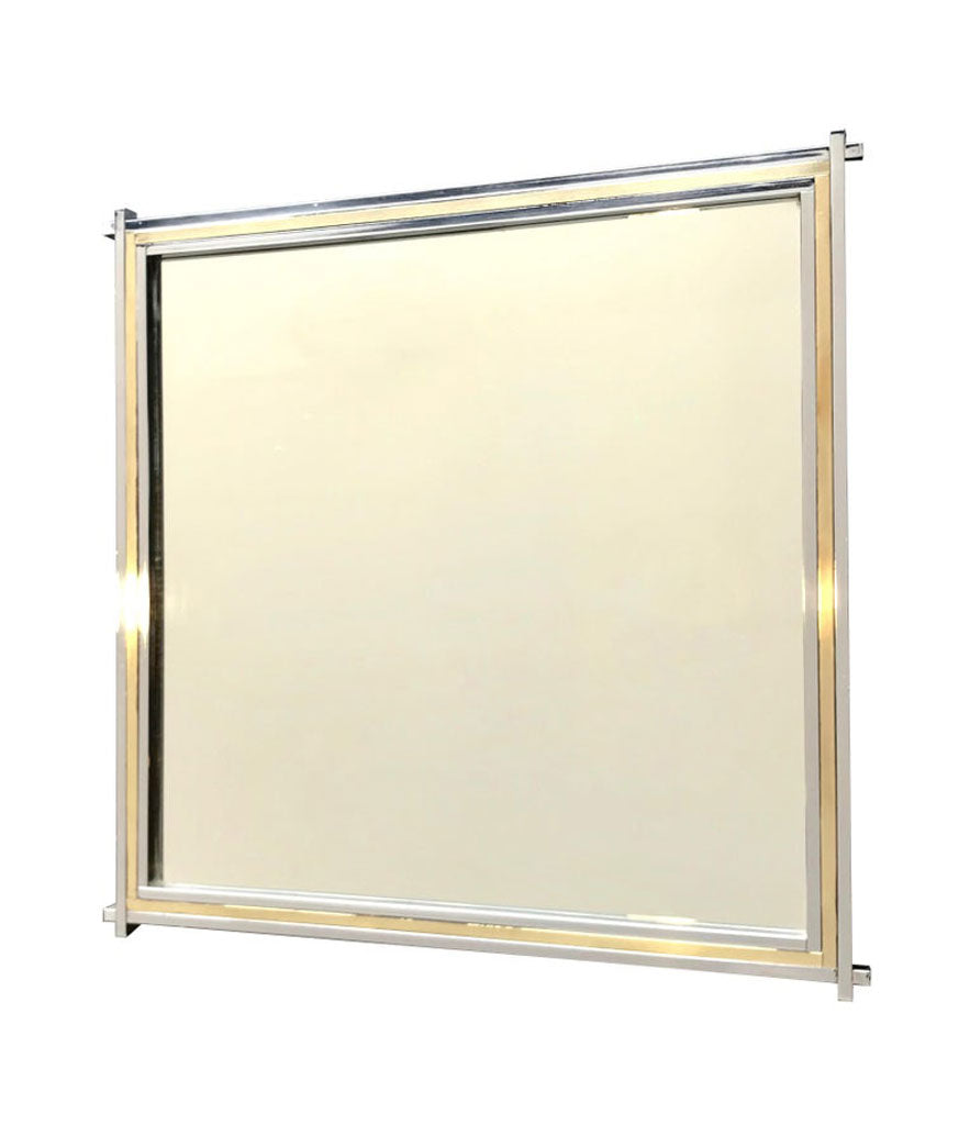 ROMEO REGA CHROME AND BRASS SQUARE MIRROR