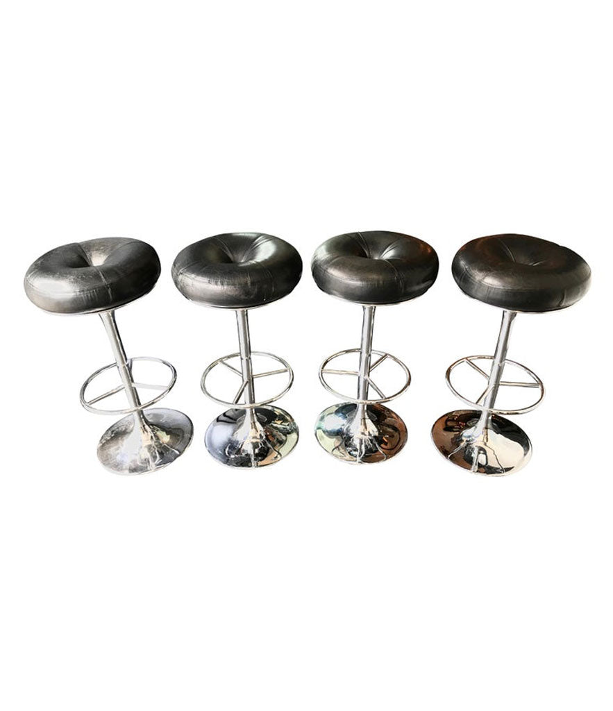 SET OF 4 1970S CHROME AND BLACK LEATHER BAR STOOLS BY JOHANSON DESIGN, SWEDEN