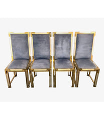 SET OF 8 ROMEO REGA LUCITE AND BRASS 1970S DINING CHAIRS