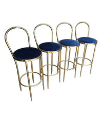 SET OF FOUR BRASS ITALIAN BAR STOOLS