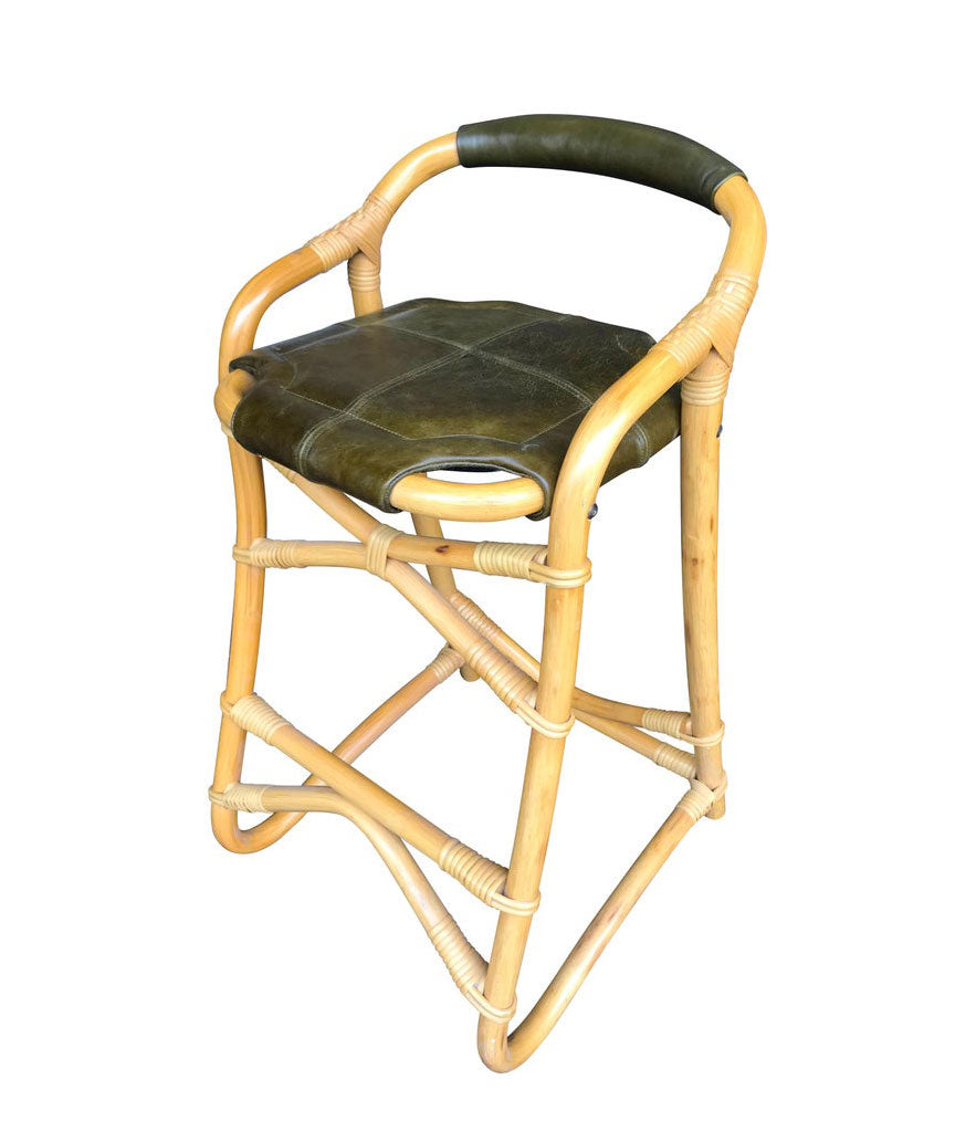 SET OF FOUR FRENCH RIVIERA BAMBOO BAR STOOLS WITH OLIVE GREEN LEATHER SEATS