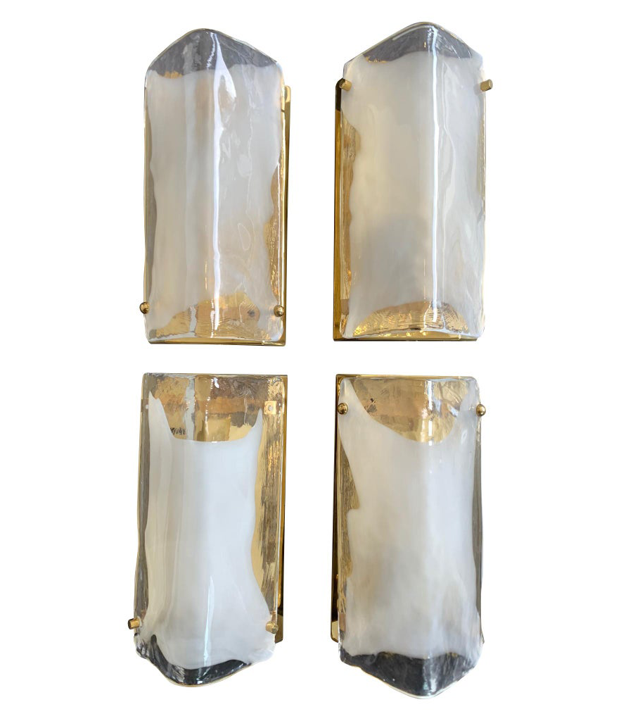 SET OF FOUR GLASS AND BRASS WALL SCONCES BY J T KALMAR