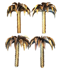 SET OF FOUR ORIGINAL MAISON JANSEN PALM TREE WALL LIGHTS