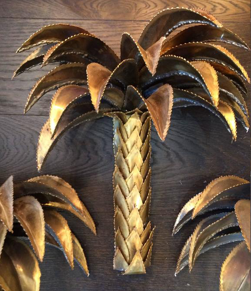 SET OF THREE RARE ORIGINAL MAISON JANSEN PALM TREE WALL LIGHTS