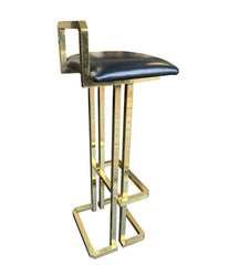 SET OF 3 MAISON JANSEN STYLE GILT METAL STOOLS WITH BLACK LEATHER SEAT PADS