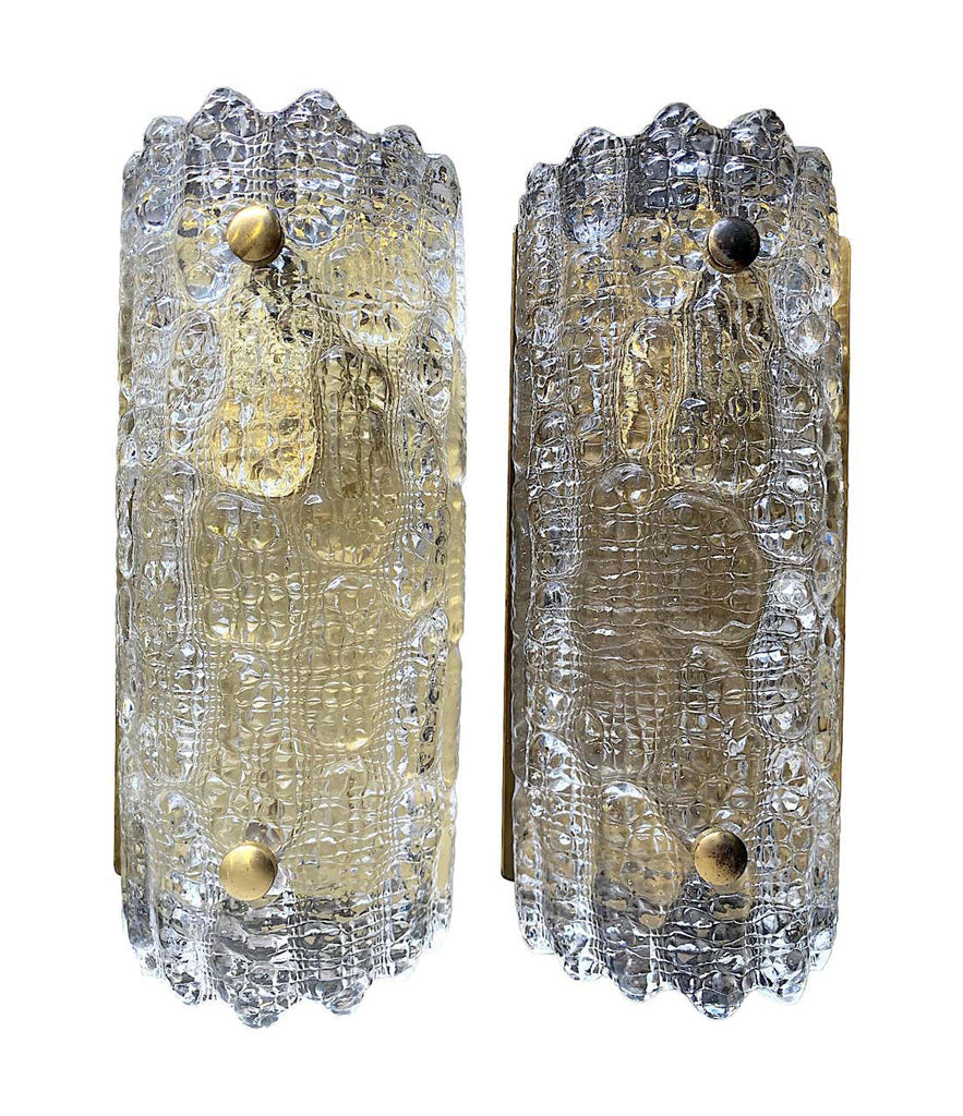 SET OF 4 ORREFORS GLASS WALL SCONCES WITH BRASS PLATES BY CARL FAGERLUND