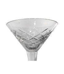 SET OF EIGHT ART DECO CRYSTAL COCKTAIL GLASSES WITH GEOMETRIC PATTERN DESIGN