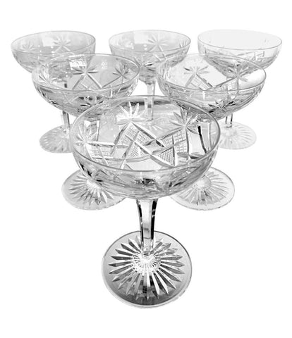 "SET OF SIX 1940S VAL ST LAMBERT ""LUBIN ANNETTE"" CRYSTAL CHAMPAGNE COUPES"