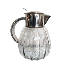 SILVER PLATED FACETED CRYSTAL LEMONADE JUG WITH CENTRAL GLASS ICE COMPARTMENT