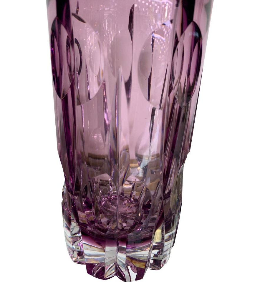 STUNNING CUT CRYSTAL COCKTAIL SHAKER WITH MATCHING ICE BUCKET IN PURPLE GLASS