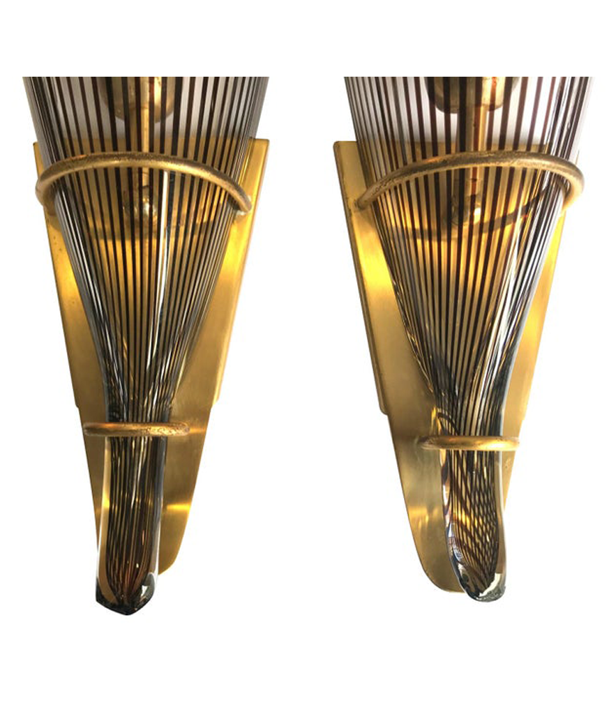 STUNNING LARGE PAIR OF LINO TAGLIAPIETRA MURANO GLASS AND BRASS WALL SCONCES