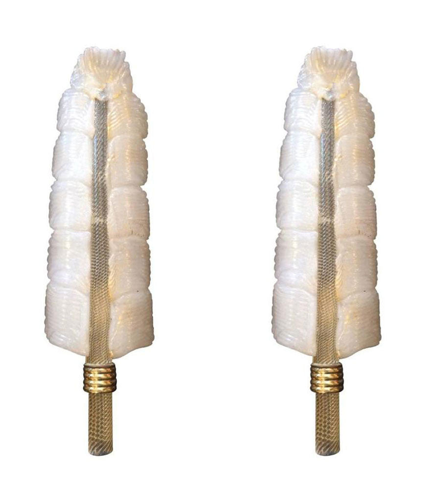 STUNNING PAIR OF BAROVIER AND TOSA FEATHER WALL SCONCES