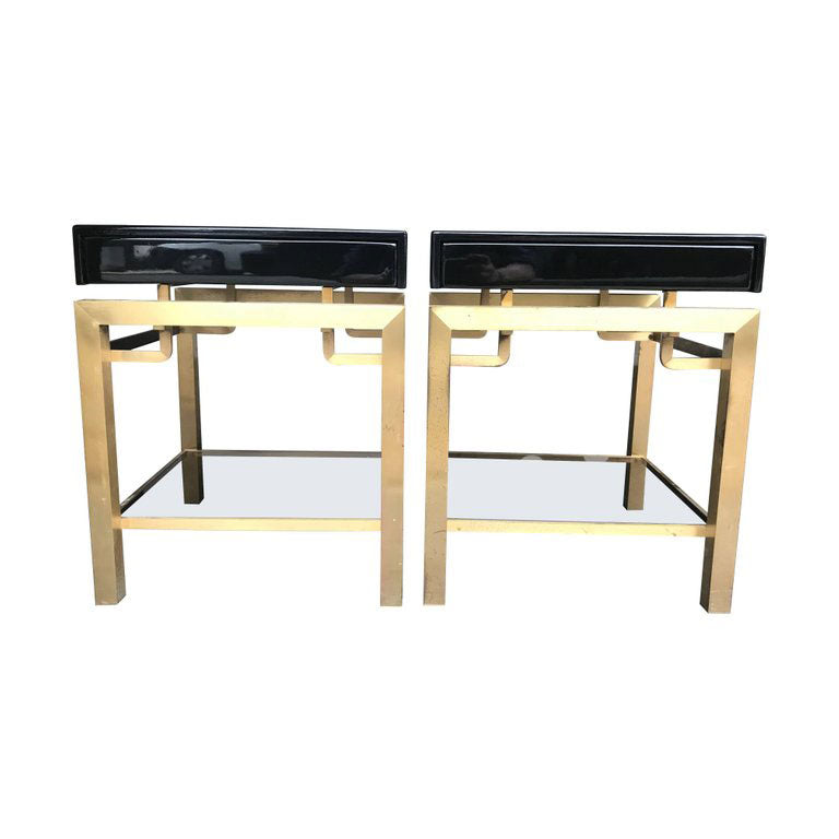 STUNNING PAIR OF GUY LEFEVRE BLACK LACQUER SIDE TABLES