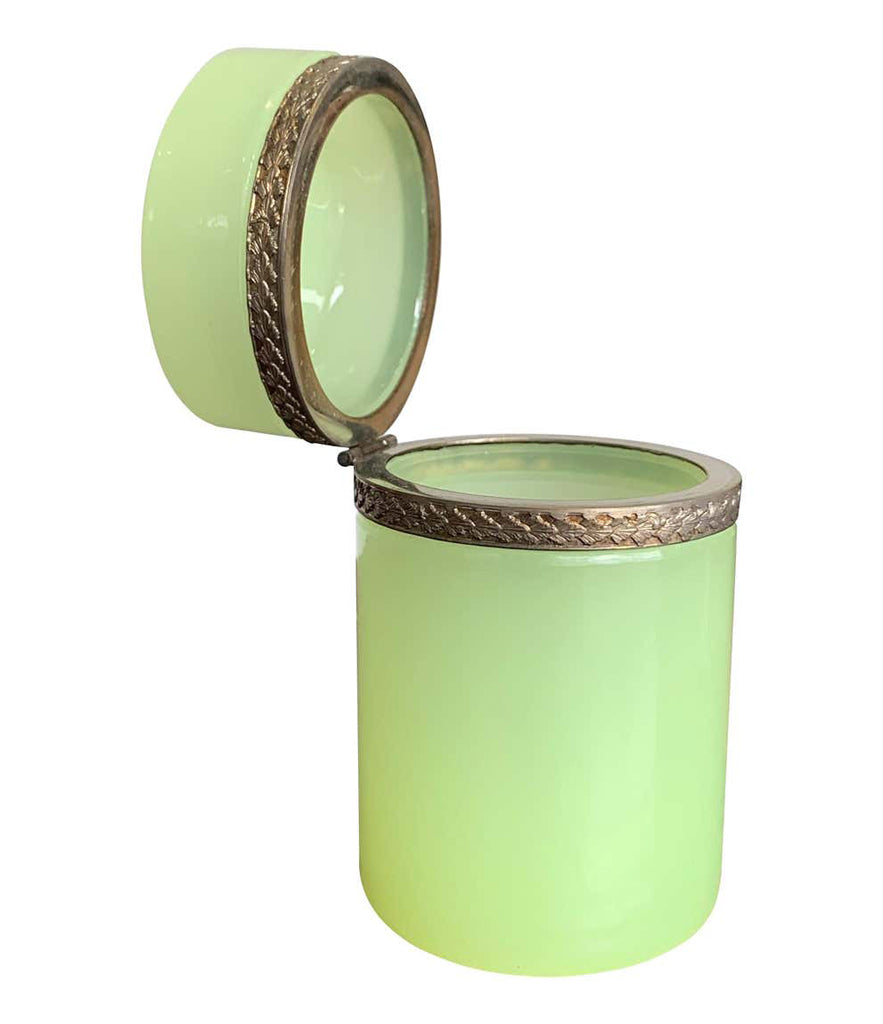 STUNNING 1950S LIME GREEN MURANO GLASS HINGED BOX BY GIOVANNI CENDESE