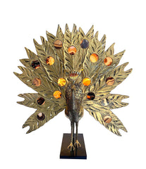 STUNNING RARE LARGE BRASS PEACOCK LAMP WITH AGATE BACKLIT TAIL BY FONDICA