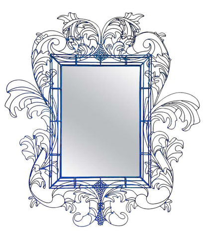 STUNNING WIRE FRAMED MIRROR BY ANACLETO SPAZZAPAN FINISHED IN SKY BLUE COLOR