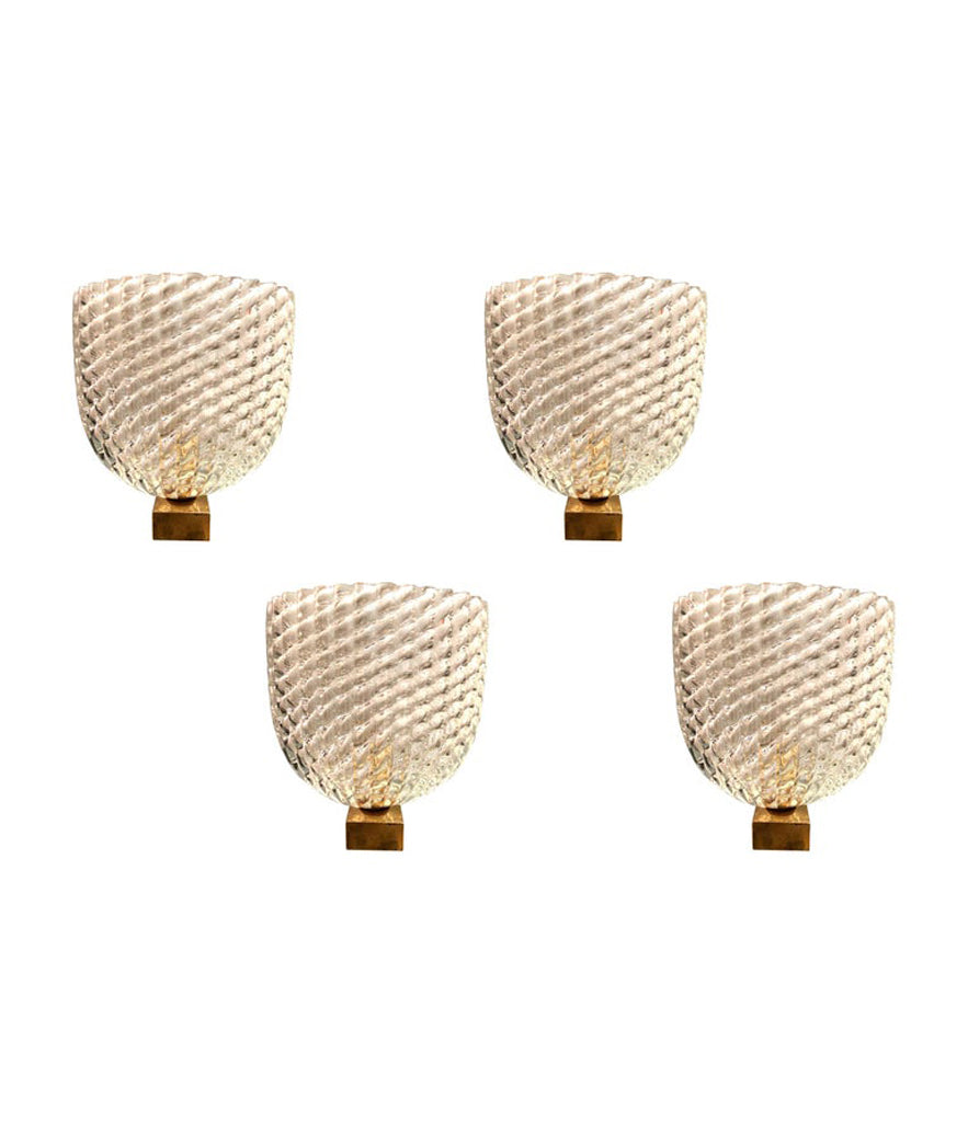 STUNNING SET OF FOUR 1940S BAROVIER & TOSO GLASS AND BRASS WALL SCONCES