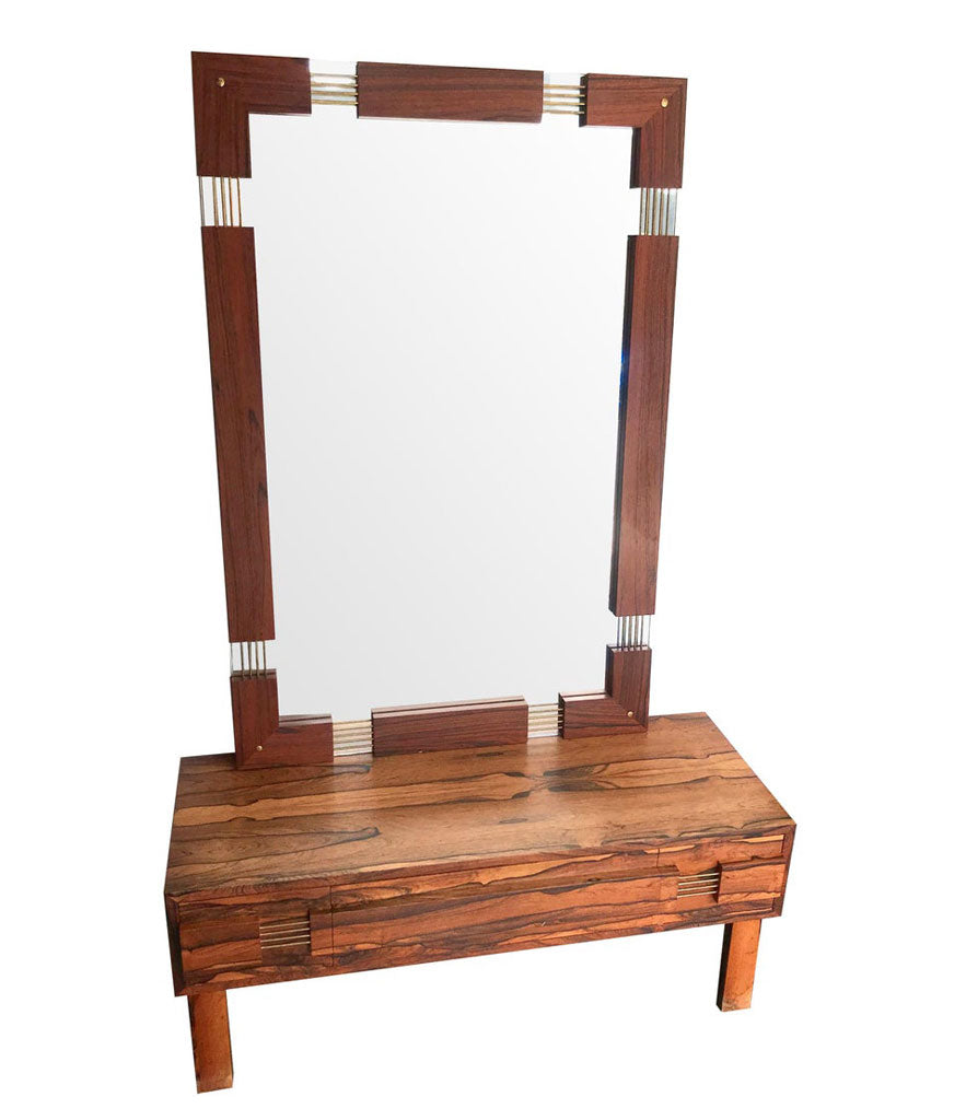 SWEDISH ROSEWOOD CHEST OF DRAWERS / LOW DRESSING TABLE WITH WALL MIRROR