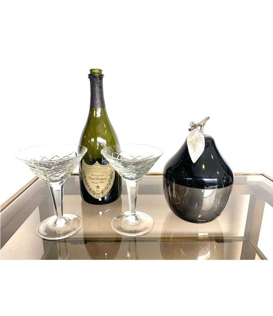 SWISS CHROMED AND BLACK PEAR SHAPED ICE BUCKET BY FREDDOTHERM WITH LEAF HANDLE