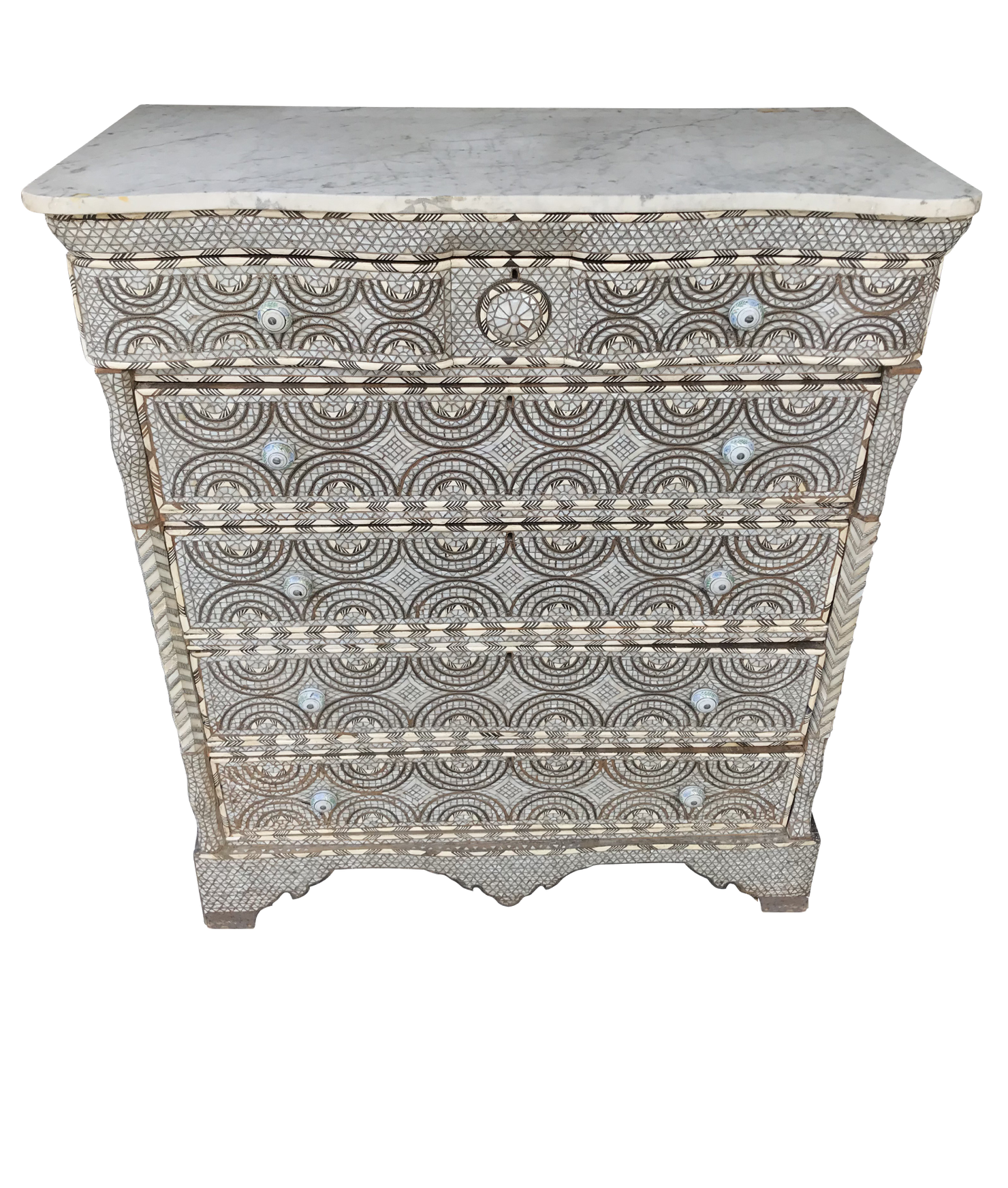 "EARLY 19TH CENTURY FIVE-DRAWER SYRIAN ""DAMASCUS"" COMMODE"