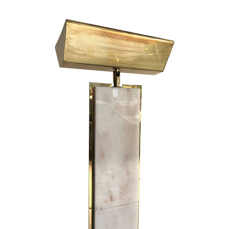 SOLID CARRARA PINK MARBLE AND BRASS FLOOR LAMP BY MAURO MARTINI