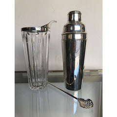 STYLISH FRENCH SILVER PLATED AND CRYSTAL COCKTAIL MIXING JUG AND MUDDLINGSPOON