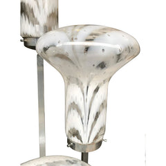 UNUSUAL ITALIAN FLOOR LAMP WITH LARGE MURANO GLASS SHADES