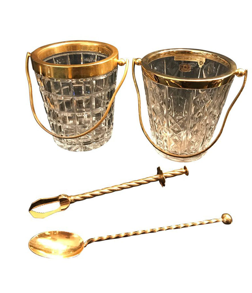 VAL ST LAMBERT CRYSTAL AND GOLD LEAF ICE BUCKET