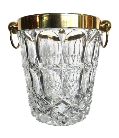 VAL ST LAMBERT CRYSTAL ICE BUCKET WITH BRASS TOP AND HANDLES