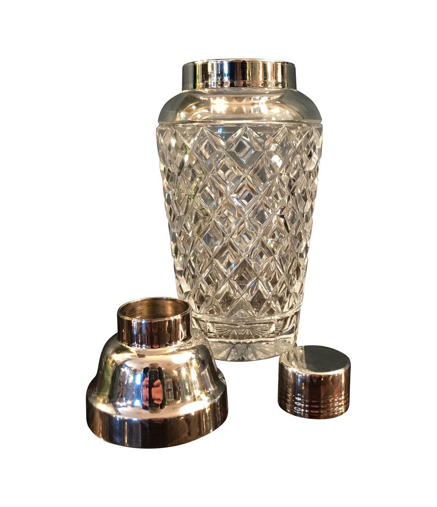 VAL ST LAMBERT RHODIUM PLATED AND CRYSTAL GLASS COCKTAIL SHAKER