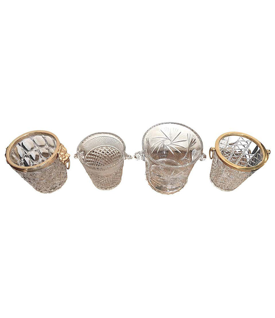 VAL SAINT LAMBERT CRYSTAL CHAMPAGNE BUCKET WITH GLASS HANDLES