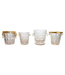 VAL SAINT LAMBERT CRYSTAL CHAMPAGNE BUCKET WITH GILT METAL LION HEAD HANDLES