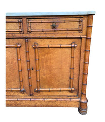 VICTORIAN BIRD'S-EYE MAPLE CONSOLE CABINET WITH FAUX BAMBOO AND MARBLE TOP