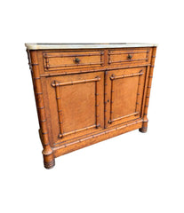 VICTORIAN BIRDS-EYE MAPLE CONSOLE CABINET WITH FAUX BAMBOO AND MARBLE TOP