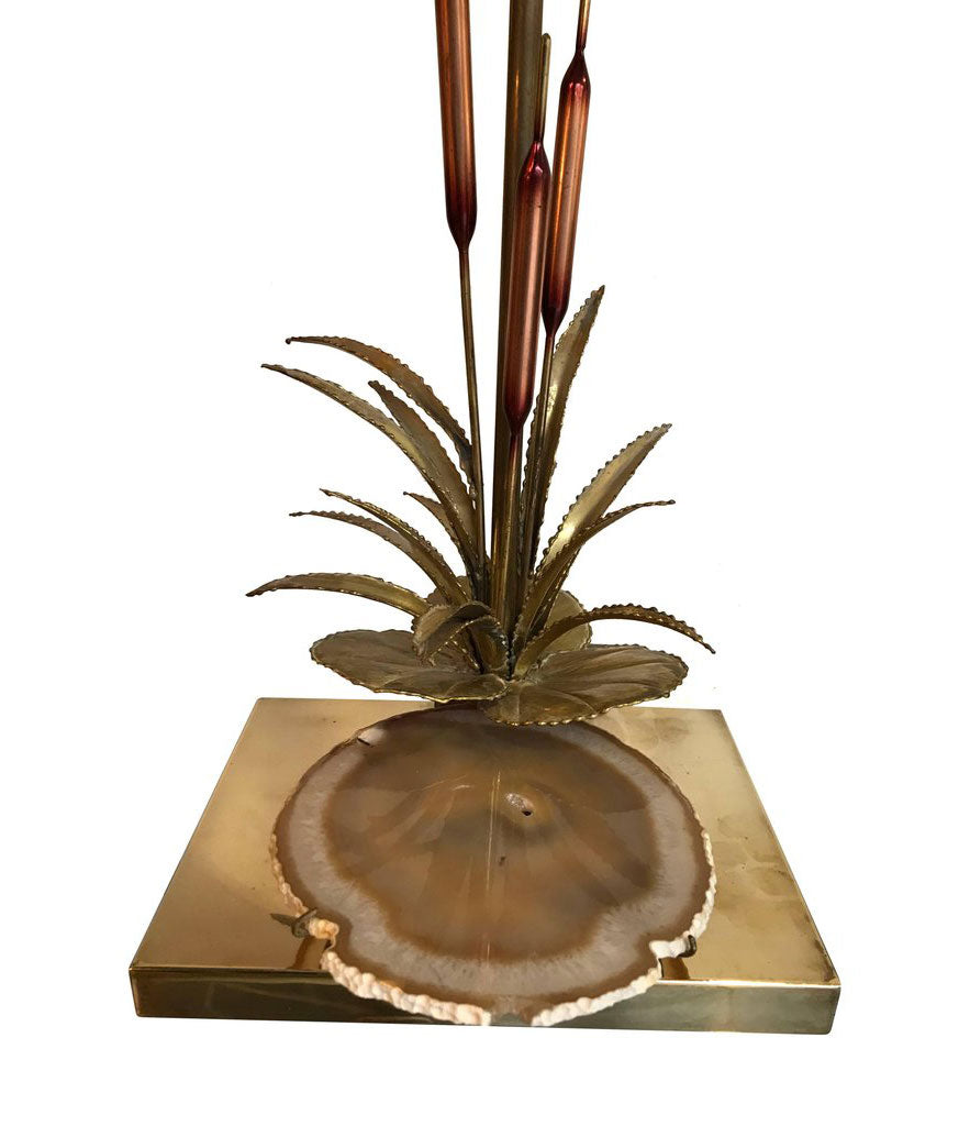 WILLY DARO BULRUSH LAMP WITH UNDER LIT AGATE SLICE